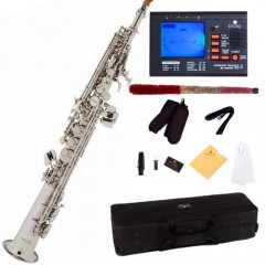 Mendini by CecilioMSS-N+92D Nickel Plated Straight B Flat Soprano Saxophone with Tuner, Case, Mouthpiece, 10 Reeds and More