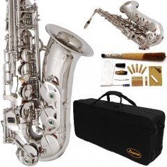 360-NK - Silver/Nickel Alto Saxophone Lazarro+11 Reeds,Music Pocketbook,Pro Case and Care Kit - 12 COLORS Available ! ! ! CLICK on LISTING to SEE All Colors
