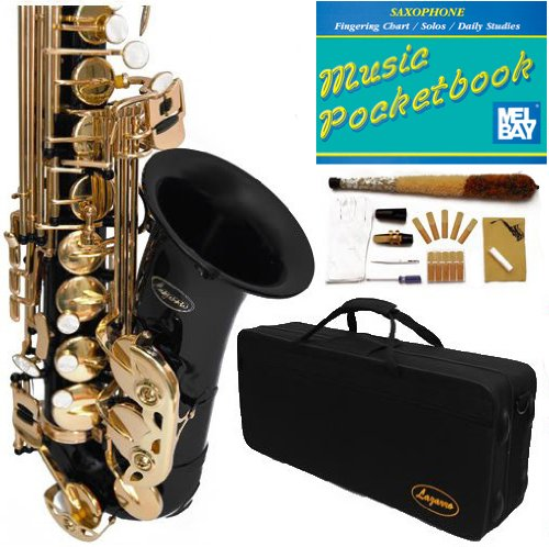 360-BK - BLACK/Gold Alto Saxophone Lazarro+11 Reeds,Music Pocketbook,Pro Case and Care Kit - 12 COLORS Available ! CLICK on LISTING to SEE All Colors