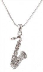 Silvertone with Clear Iced Out Saxophone Pendant with a 16 Inch Snake Franco Chain Necklace
