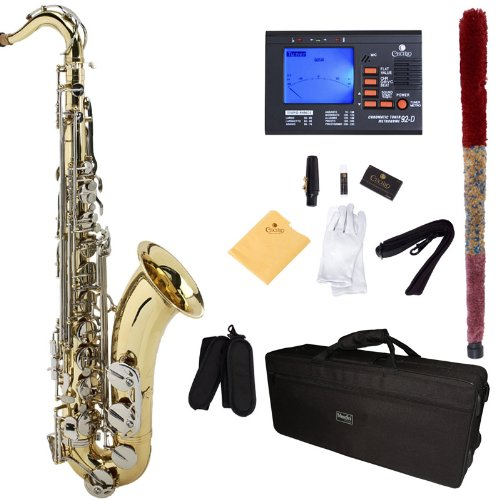 Mendini by Cecilio MTS-LN+92D Gold Lacquer with Nickel Plated Keys B Flat Tenor Saxophone with Tuner, Case, Mouthpiece, 10 Reeds and More